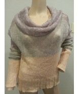 Knitted Knotted Anthropologie Sheer Cowl Neck Colorblock Mohair Blend Sw... - $56.99