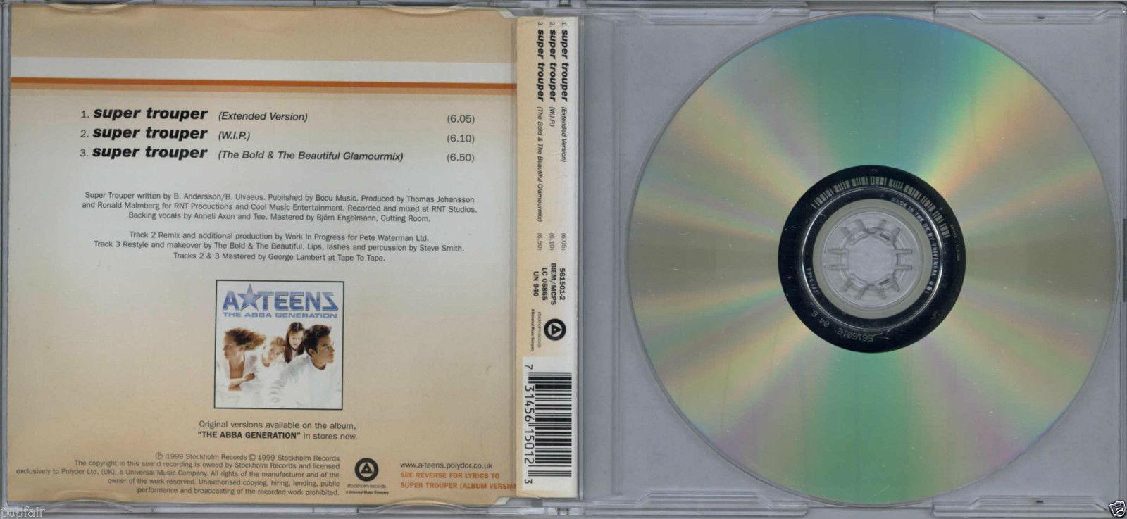 A*TEENS - SUPER TROUPER / (REMIXES) 1999 CD SINGLE STOCKHOLM - 561 501-2 ABBA
