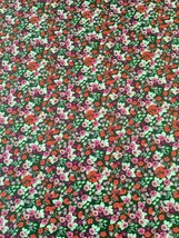 Garden Delights - Impressionist Floral Cotton Fabric on Dk Grn backgroun... - $4.55