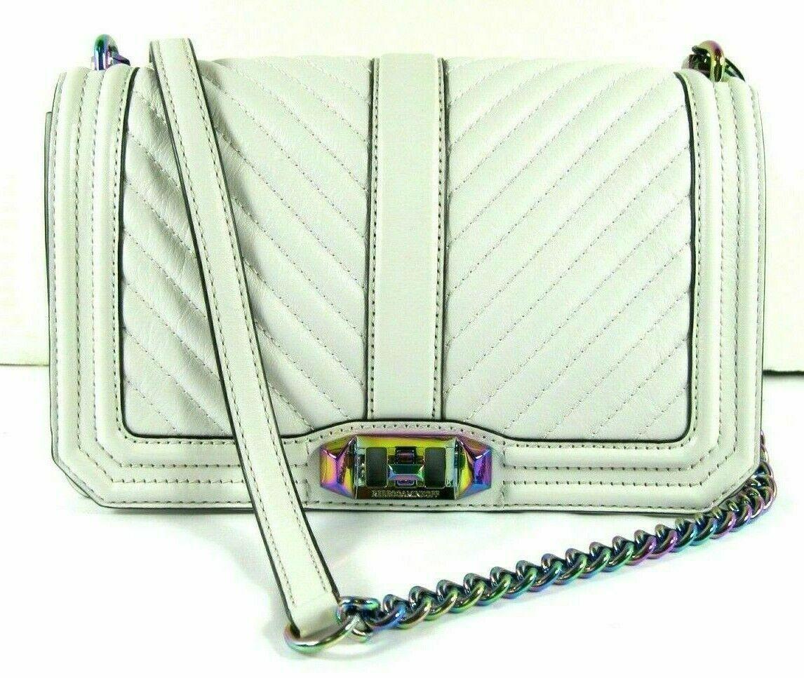 Rebecca Minkoff Ivory Crossbody Turn-Lock iridescent Chain Quilted Love NEW - $156.81