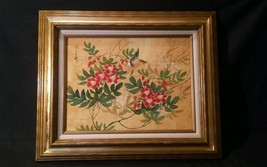 """BIRD ON TREE WITH RED BLOSSOM ORIGINAL ASIAN PAINTING SIGNED  MED TO 30"""" - $475.00"""