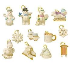 Lenox Snow Pals Miniature Tree Ornaments 12 Winter Skis Snowman Sled Ska... - $147.00