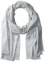 Calvin Klein Women's Metallic CK Logo Scarf Accessory, -silver lake, One... - $26.90