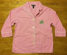 Ralph Lauren Women's Pink & White Checkered 3/4 Sleeve Sleep Shirt - Siz... - $14.03