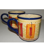 2 Pfaltzgraff Sedona Stripe Rectangle Big Mugs Cups Stoneware Hand Painted Red - $29.69