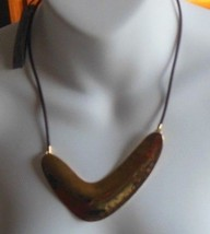 ROBERT LEE MORRIS SOHO Gold-tone Hammered Look Necklace Leather Cord - $44.55