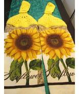 Crochet top kitchen towels sunflowers bright yellow thumbtall