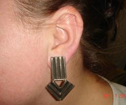 Vtg 925 Sterling Silver Bohemian Huge Modernist Bold Jointed Arrow Clip Earrings - $267.99
