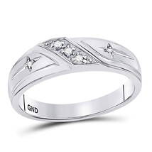 10k White Gold Mens Round Diamond Christian Cross Crucifix Wedding Band Ring - $299.00