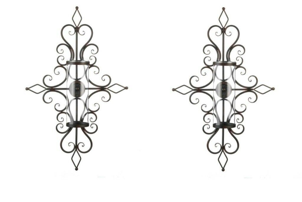 2 Old World Design Flourished Wall Sconces Hurricane Glass Pillar Candle Holder