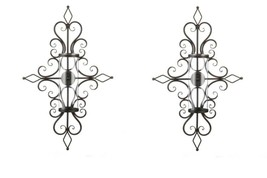 2 Old World Design Flourished Wall Sconces Hurricane Glass Pillar Candle... - $91.03