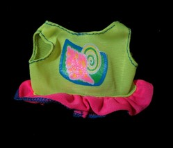 Vintage 90's Barbie Doll Clothes CROP TANK TOP Neon Yellow Pink Ruffles ... - $3.95