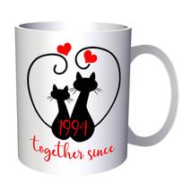 Cats We Love Together Since 1994 11oz Mug f214 - $203,52 MXN
