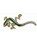 Vintage Rhinesone Beaded Gold tone Metal Lizard Gecko Pin Brooch - $13.53