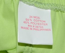 Mon Petit Lime Green Flowered Babydoll Top Bloomers Elastic Headband 24 Month image 8