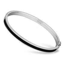 Inspired Silver Black Stainless Steel Health Awareness Stylish Bangle Br... - $791,42 MXN
