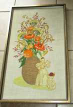 Vtg Needlepoint Embroidery Crewel Framed Flowers Floral Piece w/ figures... - $46.36