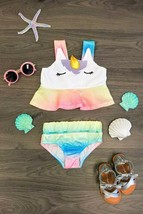 2 PC Girls Swim Suit  Swim Wear Girls Rainbow Metallic Unicorn Tankini Set - $28.99