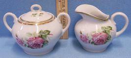 Vintage 2 Piece Sugar & Creamer CT Altwasser Silesia Germany Pink Rose F... - $24.74