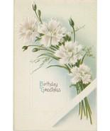 Birthday Greetings Postcard Carnations Divided Back Embossed Samson Bros - $3.37