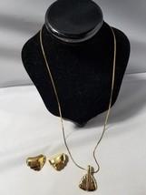 Monet Vintage Signed Jewelry Set Gold Tone Necklace Pendant & Clip On Ea... - $46.49