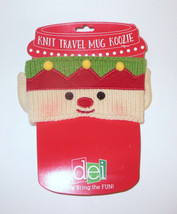 Knit Travel Mug Wrap Elf Adjustable Closure New Coffee Cup Cover Christmas - $9.89