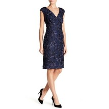 Marina Womens Blue Lace Sheath Dress Cocktail Sequins Cap Sleeve Sz 4 NWT - $68.30