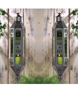 """2 Exotic Moroccan Style Serenity Hanging Lanterns Emerald Green 17"""" High - $39.95"""