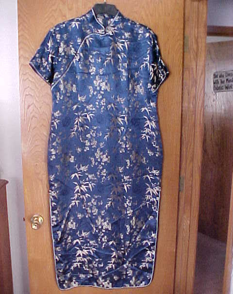 Ladies NWOT Large Size Oriental Dress Navy Blue & Gold  Another Thyme