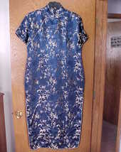 Ladies NWOT Large Size Oriental Dress Navy Blue & Gold  - $15.00