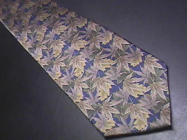 Stonehenge Neck Tie Autumn Brown Leaves on Dark Blue Background Greens Silk