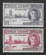 1946 Peace and Victory Set of 2 Gold Coast Stamps Catalog Number 128-29 MNH