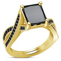 Women's Fancy Princess Cut Black Simulated Diamond 925 Silver Engagement... - $82.99
