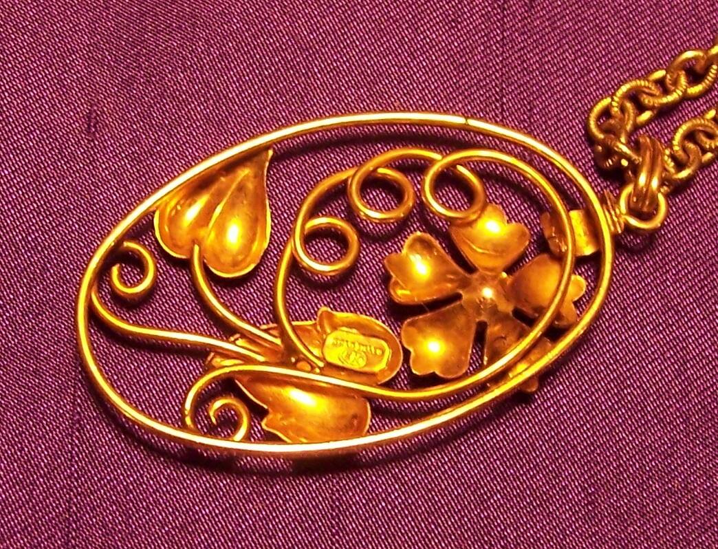 Vintage Signed (EN) Gold Filled Floral Pendant & Chain