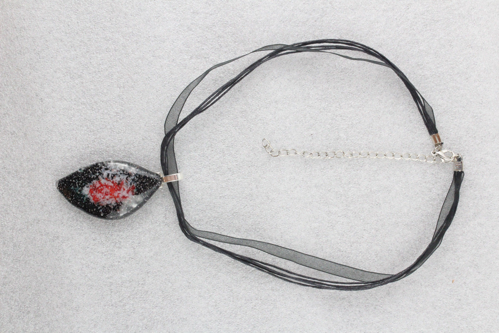 Elegant Handmade Casual Coloured Fused Glass Pendant Necklace + Cord #EM007