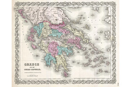 Greece; 1855 Colton Map; Lovely First Quality Antique Reproduction - $26.72+
