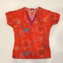 Dickies Womens Scrub Top Floral Orange Purple Teal Blue Flowers Size XS ... - $14.99