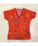 Dickies Womens Scrub Top Floral Orange Purple Teal Blue Flowers Size XS Flowers - $14.99