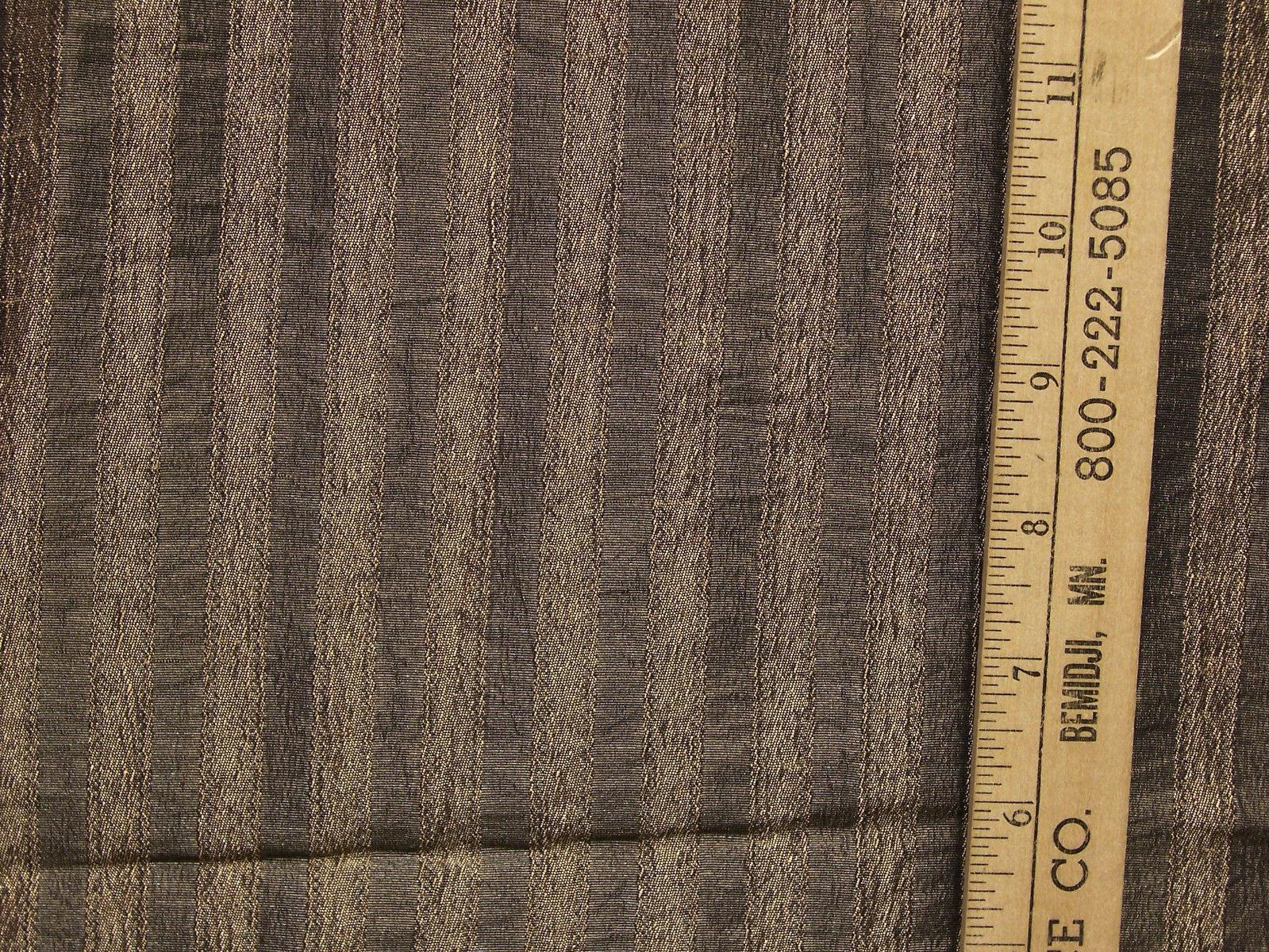 Shimmering Stripe Striped Fabric Metallic Gray Gold Charcoal w/ Tassel Trim