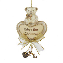 Baby's First Christmas Ornament Bear and Heart By Kurt Adler-Holiday! - $8.99