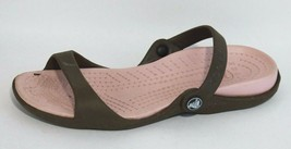 Crocs women's sandals slip on brown pink rubber flat size 8 - $14.51