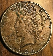 1926-S UNITED STATES SILVER PEACE DOLLAR COIN - Excellent example! - $37.74