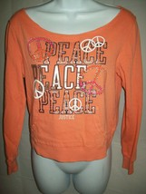 Justice Girls Pullover Sweatshirt Sz 14 Orange Peace Bling Pocket School... - $19.79