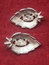 Vintage Sarah Coventry Signed Clip-on Earring Faux Diamond in a Leaf Silver Tone - $11.83