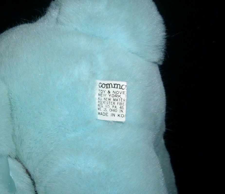 "10"" VINTAGE 1989 COMMONWEALTH BLUE BABY BUNNY RABBIT STUFFED ANIMAL PLUSH TOY image 4"