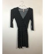Lster Dress Black  White Polkadot  V-Neck Crosses Over Bust 3/4 Sleeve L... - $18.50