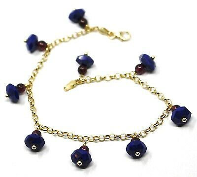 18K YELLOW GOLD BRACELET, OVAL FACETED LAPIS LAZULI PENDANT, ROLO LINKS 2.5mm