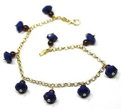 18K YELLOW GOLD BRACELET, OVAL FACETED LAPIS LAZULI PENDANT, ROLO LINKS 2.5mm image 1