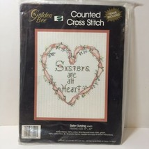 """Sisters are All Heart Cross Stitch Kit Golden Bee 8"""" x 10"""" - $9.74"""