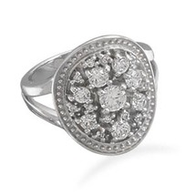 Oval Silver Ring with Clear CZs - $89.98
